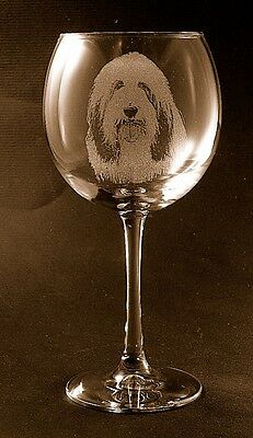 New Etched Bearded Collie on Large Elegant Wine Glasses