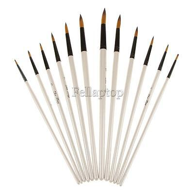 Set of 12 Pcs Nylon Hair Paintbrush Artist Painting Pointed Tip White Handle