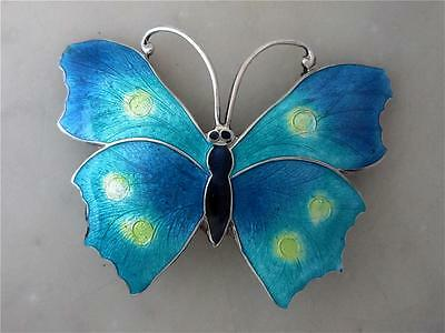 Large & Stunning Art Nouveau Style Sterling Silver and Enamel Butterfly Brooch
