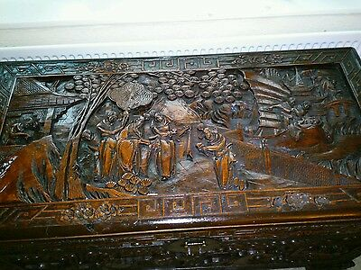 Antique 19th Century  Chinese  Carved Camphor Chest