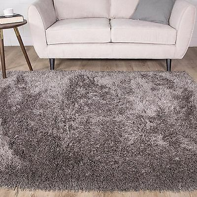 Soft Charcoal Grey Soft Shaggy Bedroom Rug Non Shed Thick Rugs For Living Room