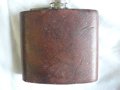 Lovely Leather Bound Stainless Steel Hip Flask 5oz