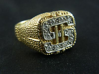 9ct Gold Hallmarked Mens $ Dollar Stone Set Ring 13.4g, Iced Bling , Size X