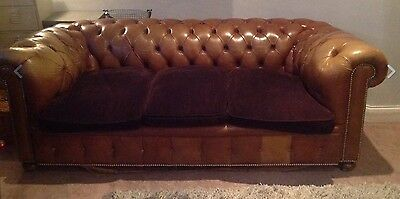 Characterful Vintage Tan Brown Leather Chesterfield Sofa 3 seater settee