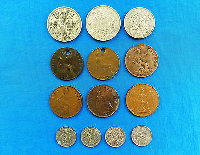 Mixed Lot of 13 Vintage Great Britain Coins