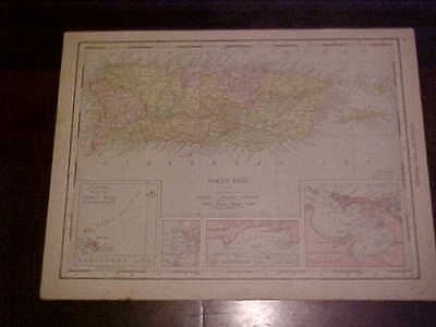 Original Map from 1916 Rand McNally World Atlas Porto Rico & West Indies