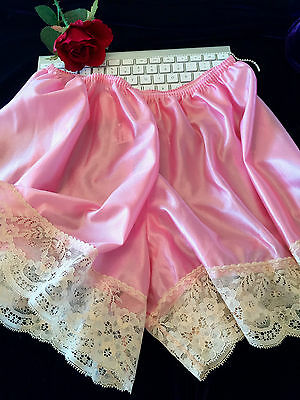 Vintage Style Ultra Shine Nylon Lacy French Knickers Sissy Pink Panties Lingerie