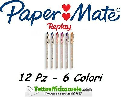 Penne a sfera cancellabili PAPER MATE REPLAY 12 pz 6 colori - cancell penna