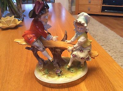 German Volkstedt Figurine, See Saw Couple