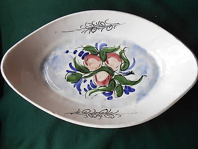 Lovely old oval hand painted pottery faience dish.