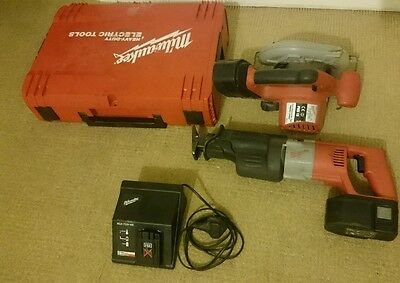 milwaukee 18v reciprocating saw/ sawzall, metal cutter,  charger and 2 battery