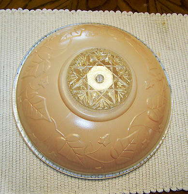 "Vintage CENTER HOLE Light Pink Glass Ceiling Fixture Shade, Embossed 11.5"" Dia"