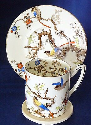 GRAFTON China - EXOTIC BIRDS IN BRANCHES - COFFEE CUP & SAUCER - Excellent