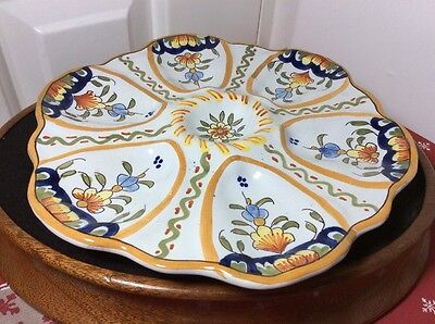 ANTIQUE POTTERY OYSTER PLATE 23cm Signed