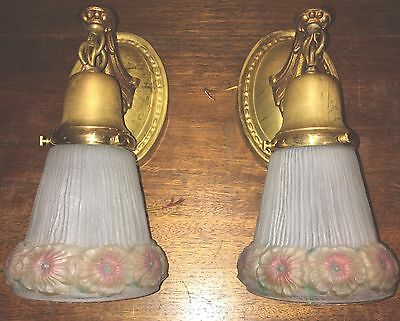 Brass Sconces Vintage Antique Wired Pair Decorative Glass Shades Globes