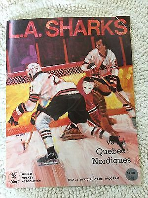 1971-72 WORLD HOCKEY ASSOCIATION PROGRAM L.A. SHARKS vs. NORDIQUES