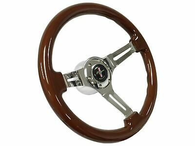 1968 - 1978 Ford Mustang 6 Bolt Mahogany Finish Steering Wheel Kit | Pony Emblem