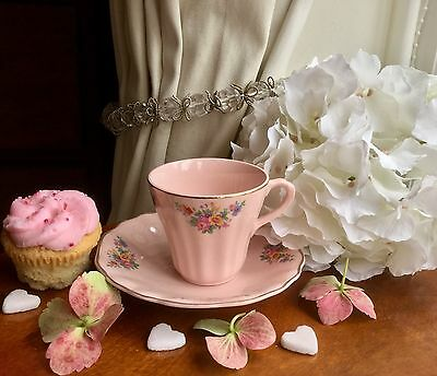 """VINTAGE """"J & G MEAKIN"""" ROSA SOL PINK CUP and SAUCER 1950's Exc. Con."""