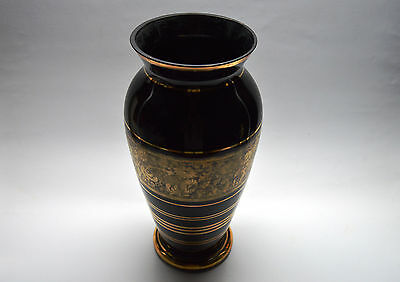 VTG CZECH ART DECO EGERMANN Black Hyalith GLASS VASE Golden Floral Decorations