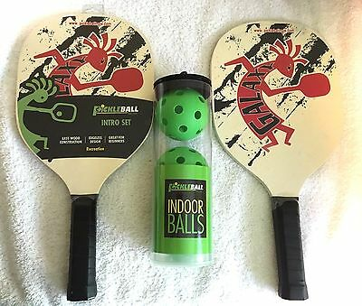 Pickleball Now Intro Set 2 Paddles & 3 Balls 6 Ply Bass Wood Construction New!