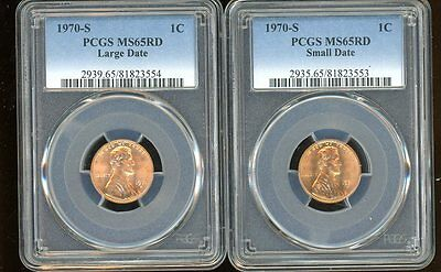 1970 S 1C Lincoln Cent Penny PCGS MS65RD Small Date Large Date Set