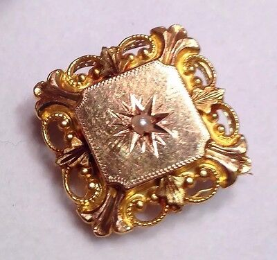 Jolie Broche ancienne Or 18 K Perle -fine ?/Antique Gold Brooch natural Pearl