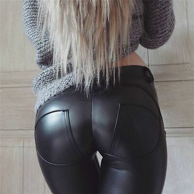 Fashion Women Slim PU Leather Skinny Legging Stretchy Pant Pencil Black Jeggings