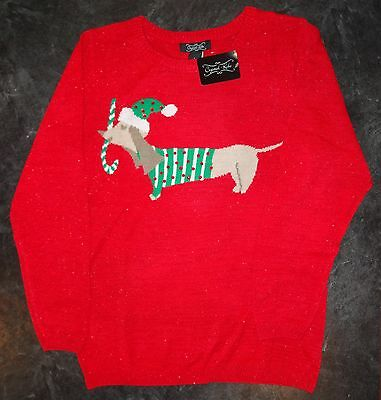 Red Holiday Sweater with Fun Dachshund Holding a Candy Cane Design size Medium
