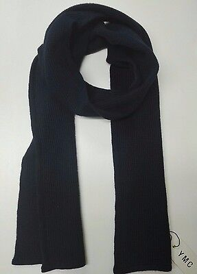 YMC Unisex Scarf Black Warm Womens Mens Shawl 100% Lambswool RRP £47