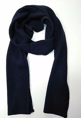 YMC Unisex Scarf Navy Warm Womens Mens Shawl 100% Lambswool RRP £47