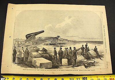 1861 US Civil War NY Illustrated News Union Cannon Fort Monroe Gen Wool Butler