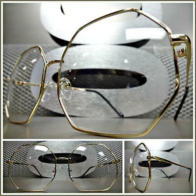 OVERSIZED VINTAGE RETRO Style Clear Lens EYE GLASSES Gold Octagon Fashion Frame