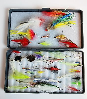Set of (40) Vintage Fly Fishing Flies Hooks Lures Lot w/ Plastic Carrying Case