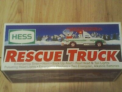 VINTAGE 1994 Hess Rescue Truck NEW IN BOX NIB HEAD+TAIL LIGHTS+ SOUND, HORN