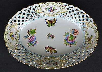 HEREND HUNGARY QUEEN VICTORIA PORCELAIN BREAD BASKET 29.5 cm