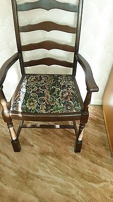 High Back Wooden Chair With Tapestry Seat