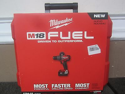 "NEW Milwaukee 2704-22 18 Volt M18 FUEL RED Lithium-Ion 1/2"" HP Hammer-Drill Kit"