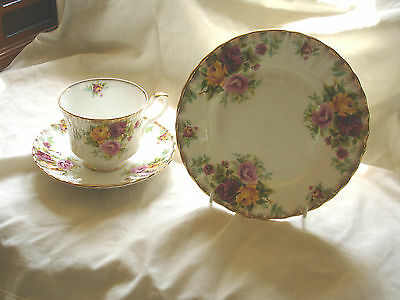 "Royal Stafford Vintage ""bouquet"" Bone China Trio With Rich Floral Design"
