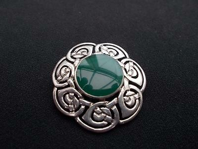 Vintage Sterling Silver Celtic Brooch Green Stone 11 Grams Marked 925 Nice Cond
