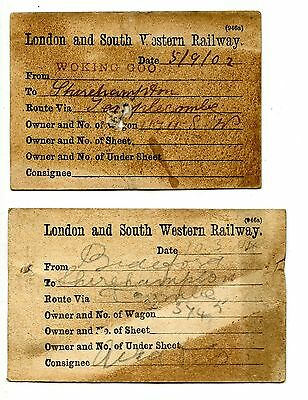 2 x LSWR wagon labels  Bideford, Woking 1902