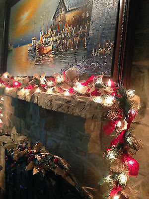 Prelit Christmas Burlap Garland  21 FT.  Fireplace mantle holiday decoration