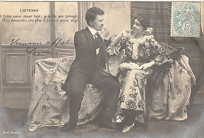 BV71.Vintage French Postcard.Couple talking on chaise lounge.