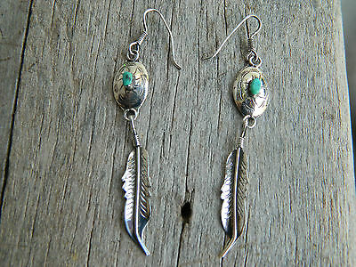 Vintage Navajo Sterling Silver ConchoTurquoise Feather Dangle Earrings