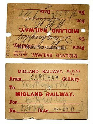 2 x Midland Railway wagons labels. Hardwick & Marehay Collieries 1908
