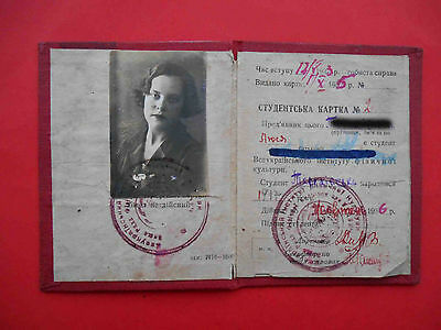 USSR 1935 Woman KHARKIV, student document ID with Real photo