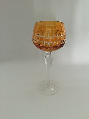 vintage crystal / cut coloured hock / wine glass from Bohemia / Czech