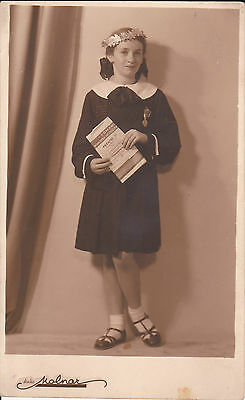 Romanian Girl With School Prize Medal And Diploma 1936 Photo By Molnar Bucharest