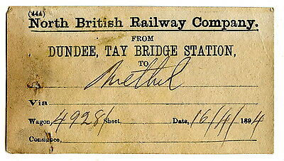NBR Dundee Tay bridge to Methil wagon label 1894