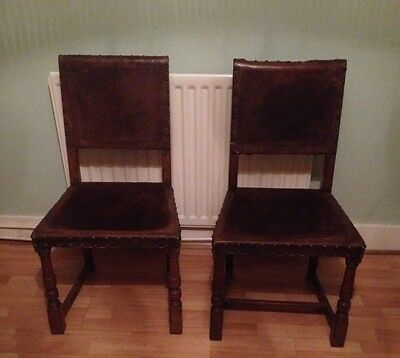 2 Early 20th Century Oak & Leather Chairs
