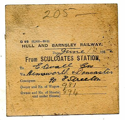Hull & Barnsley Rly Sculcoates to Etwall wagon label 1912